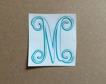 Single Initial Decal - Two Layer Vine