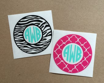 Monogram Decal | Quatrefoil Decal | Zebra Decal | Two Color Decal | Circle Monogram | Laptop Decal | Car Decal | Personalized Decal