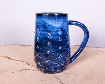 Blue tufted handmade pottery coffee mug, Textured Coffee Mug, Pottery coffee mug