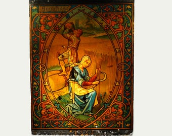 Victorian Stained Glass Effect Reverse Print On Glass August 1900