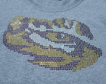 "LSU-Inspired Eye of the Tiger Rhinestone Design File, 8.86""W x 5.59""H"