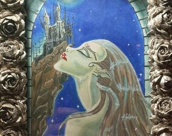"Original Werewolf art ""Blood on the Lover's Moon"""