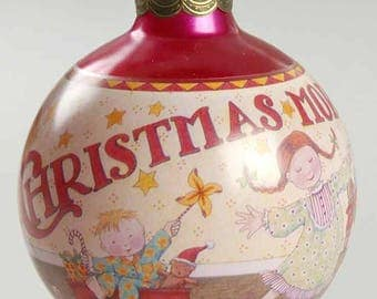 "Vintage Hallmark Glass Christmas Ball, ""Christmas Morning 1993"", Pink"