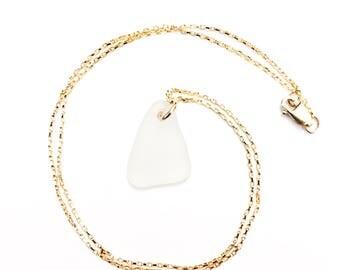 White Sea Glass Pendant Gold Delicate Necklace