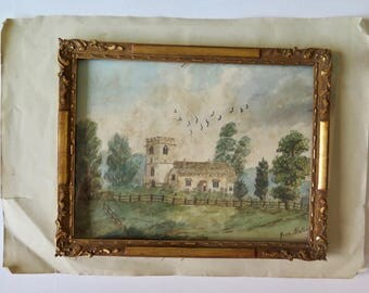 """Original Antique Watercolor Signed Mary Byron, painted """"from Nature"""", """"St. Mary Magdalene"""", Romantic Country Landscape, English Countryside"""