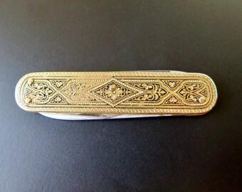 Solingen Pocket Knife with Floral Engraving, Slim Foldable Knife, Pen Knife, Collectible Knife, Lady's Pocket Knife, Saphir Solingen Inox