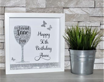 Personalised Birthday Gift, Box Frame, 18th Birthday, 21st Birthday, 30th Birthday, Special Birthday, Wine Lover, Personalised Frame, Gift,