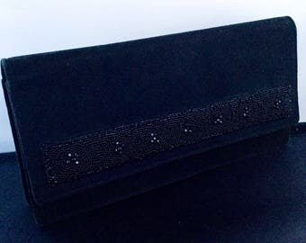 Vintage French Black Suede Beaded  Clutch