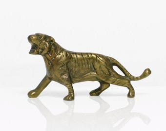 vintage brass bengal tiger sculpture big cat tropical home decor