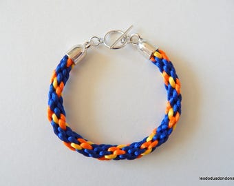 Beaded braided kumihimo blue orange yellow