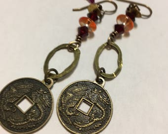 Brass Dragon Boho Earrings