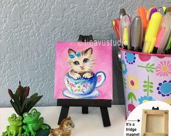 cat painting, fridge magnet, ORIGINAL cat artwork, mini canvas painting, square canvas, acrylic artwork, gift under 25 dollars, acrylic art