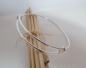 2 silver metal, gilded - diameter 6 to 8 cm-1.24 adjustable Bangle bracelet