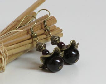 Bohemian earrings in bronze colored metal and black glass bead - 21