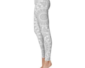 Silver Yoga Leggings - Silver Leggings, Gray and White Patterned Leggings, Mandala Art Tights, Gray Stretch Pants