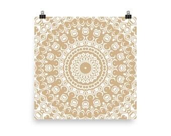 Cream Wall Art, Abstract Tan and White Mandala Art, Home Decor in Beige, Art Print
