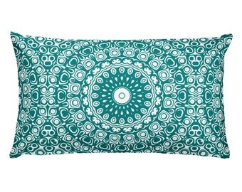 Teal Pillow, Decorative Throw Pillow, 20x12 Lumbar Pillow, Teal and White Mandala Design Rectangle Cushion