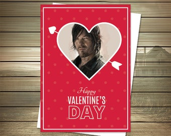 The Walking Dead Valentine Card   Daryl Dixon   Happy Valentines   Daryl  Dixon Card