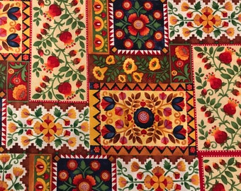 Colorful festive Mexican / Spanish folkloric fabric, beautiful flowers, Mexican, party, Spain, folkloric fabric, Mexico