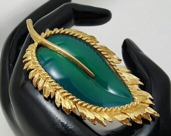 NAPIER Green Resin Leaf Pin