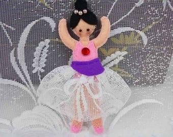 Ballerina small soft doll, ballerina doll pink, felt doll stuffed doll softie, felt doll ballet dancer, baby shower gift decor, fabric doll