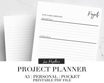 Project Planner, Printable planner inserts, Office printables, Project tracker, Work printable, Filofax inserts, A5, Personal, Pocket,