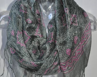 Made of 100% natural silk batik scarf