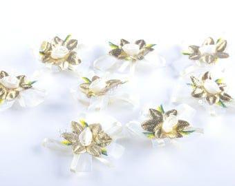 pretty petal flower white gold multicolor