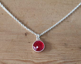 Sterling Silver Ruby Necklace. Ruby Necklace. Ruby Pendant. July Birth Stone. Ruby. Anniversary Gift. Valentines Gift. Ruby Jewelry
