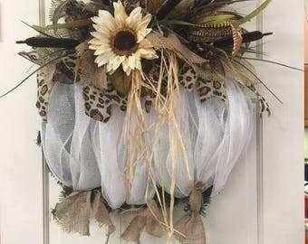 Fall White Pumpkin Wreath