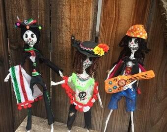 Tres amigos dia de los muertos skeleton mariachi dolls