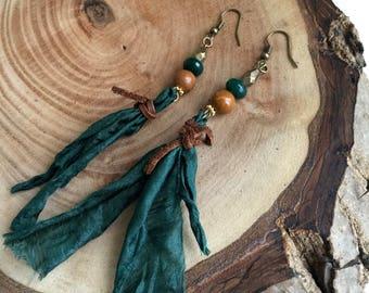 Green Jade Earrings,Jasper Earrings,Antiqued Brass Earrings,Jade Earrings,Leather Earrings,Green Earrings,Healing Earrings,Long Earrings