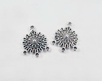 CT46 - Set of 2 connectors round circle Sun Maya Aztec Tribal pattern 4-hole lace in antique silver