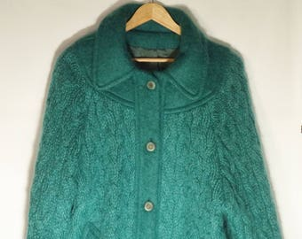 Irish wool vintage sweater coat// 80s teal green cable knit mohair winter jacket// Donegal Designs Ireland// Women's size M L medium large