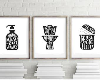 Bathroom wall decor, canvas print sign, Print set of 3, Flush toilet sign, Wash hand sign, Vintage signs, Hand lettered sign