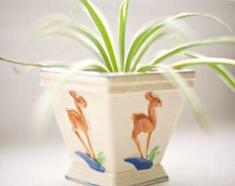 Painted Deer Planter | Hand Painted in Japan 1950s