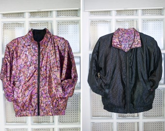 Vintage Reversible Satin Bomber Jacket | Small