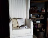 Cream Striped Winged Back Chair 1:3 Scale