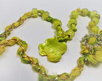 Silk and large fluorree color glass beads necklace