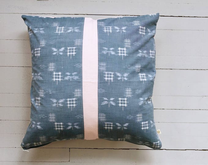 "Vintage TUMUGI Japanese kimono fabric ""KASURI"" ikat design pillow 20"" x 20"""