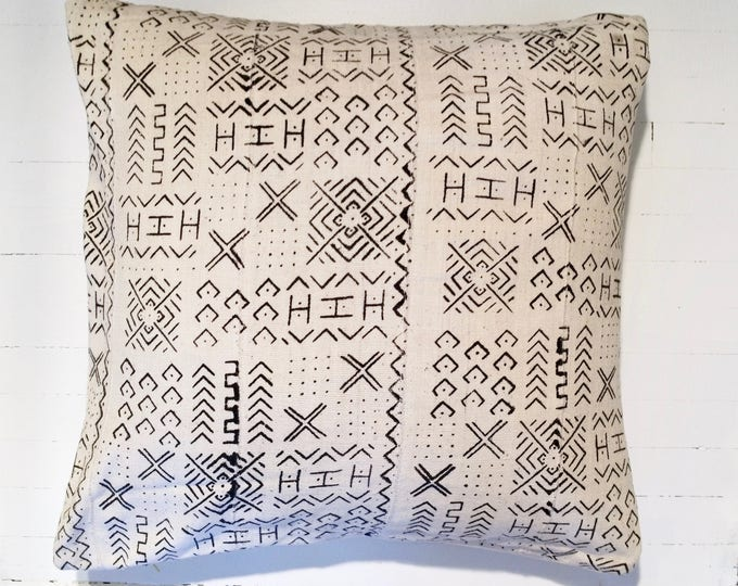 "Vintage African Mud Cloth Throw Pillow 24"" x 24"""