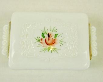 Ornate Victorian White Lidded Milk Glass White Trinket Box Rectangle Embossed Pink Flowers Bath Vanity Dresser She Shack Decor