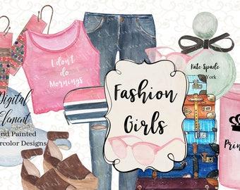 Watecolor Fashion Clipart, Kate Spade Perfume, Kate Spade Purse, Fashion Sunglasses, Fashion Shoes, Suite Case, Princess Cup. No. WC96