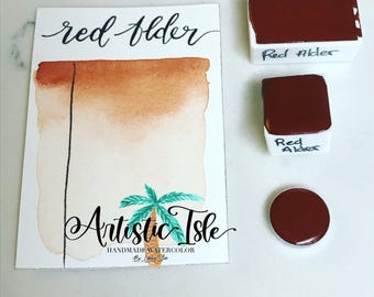 Red Alder, Handmade Watercolor, watercolor, handmade paint, red, earth tone, organic, half pan, full pan, travel size