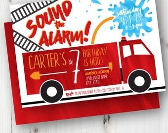 Firetruck Birthday, Invitation, Invite, Fireman, Fire Engine, Fire Hose, Firehouse, Sound the Alarm, Personalized Invitation, Ladder