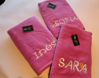 "Personalized Embroidered Beach Towel - 100% Cotton - Size 70cm x 140cm (27"" x 55"")"