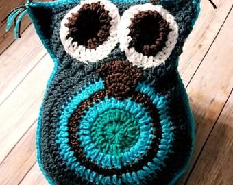 Crochet Owl Pillow, Owl Pillow, Handmade Owl Pillow