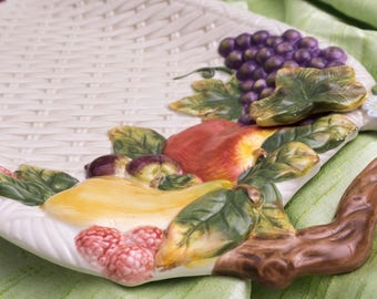 """Enormous Vintage Handled Tray 20"""" Cornucopia Collection by BAUM BROTHERS"""