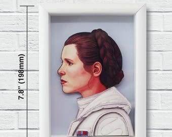 "Star Wars Layered Paper Cut Art ""Princess Leia"" White Frame"