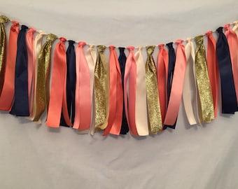 Satin Ribbon Garland/Coral Fabric Garland/Strip Tie Garland/Tassel Garland/Coral Wedding Decor/Coral Ribbon Garland/Navy Ribbon Banner